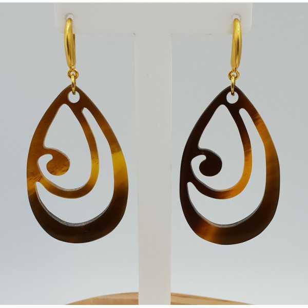 Earrings with brown buffalo horn pendant