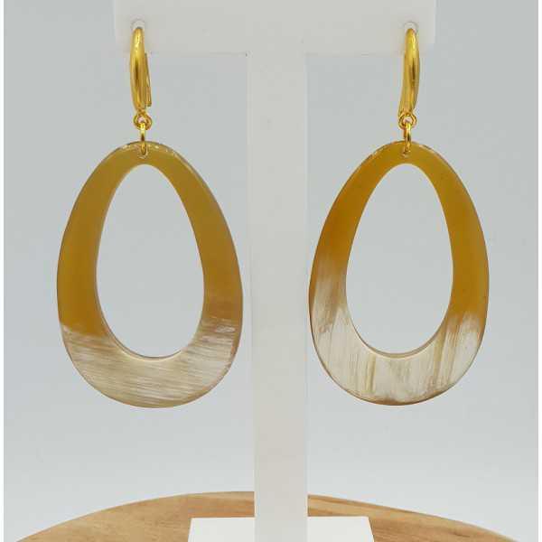 Earrings with open drop of buffalo horn