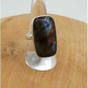 Silber ring set mit einem rechteckigen Labradorit Größe 18