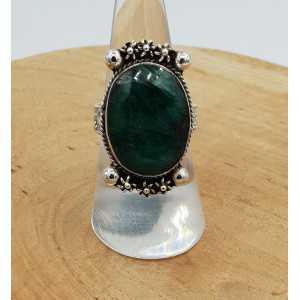 Silber ring set mit ovaler Facette Smaragd-19 mm