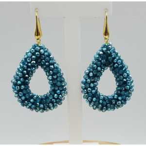 Gold plated blackberry glassberry earrings open drop blue metallic crystals