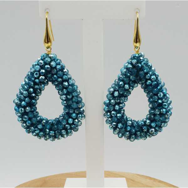 Goud vergulde braam glassberry oorbellen open druppel blauw metallic kristallen