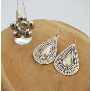 Silver carved drop earrings