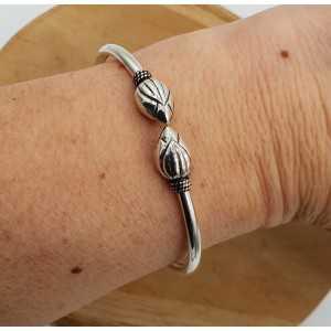 Zilveren armband bali style met lotus
