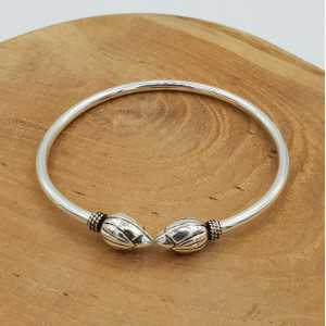 Silver bracelet bali style with lotus