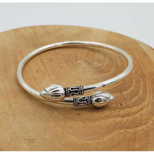 Silver bracelet bali style with lotus