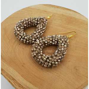 Gold plated blackberry glassberry earrings open drop gold metallic