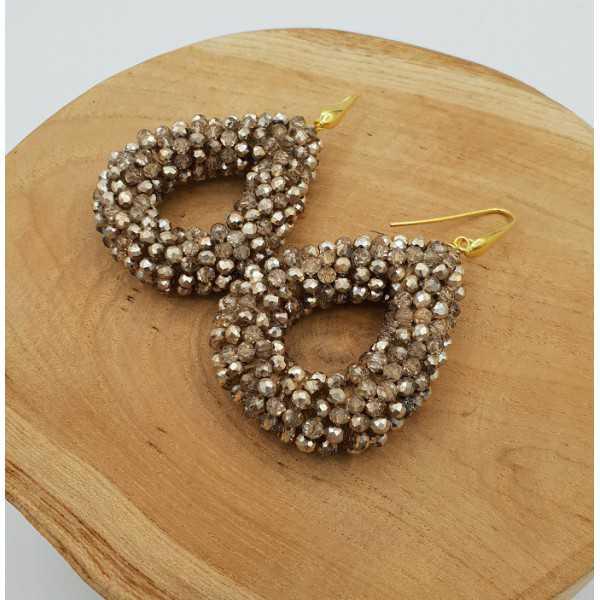 Vergoldete blackberry glassberry Ohrringe offenen Tropfen-gold-metallic