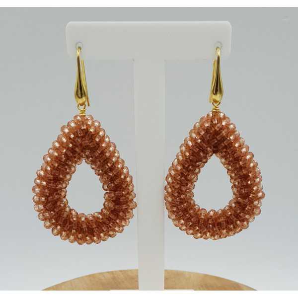 Goud vergulde glassberry braam oorbellen open druppel zacht oranje kristallen