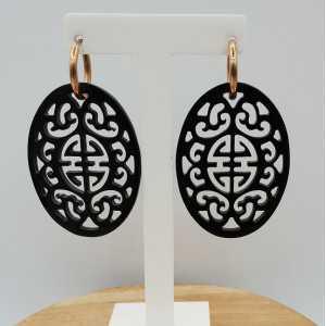 Creoles with oval carved black buffalo horn pendant