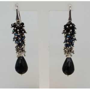 Silber lange Ohrringe mit Onyx und Kristallen