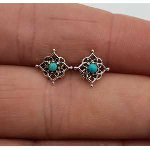Zilveren mandala oorknopjes met Turkoois