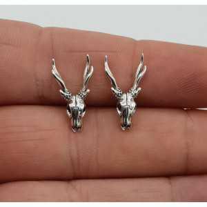 Zilveren oorknoppen herten schedel