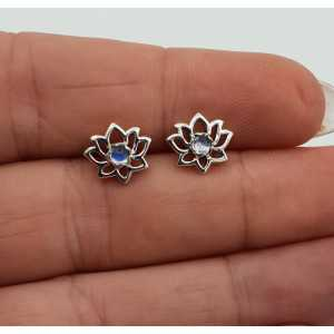 Silber lotus oorknopjes mit Regenbogen-Mondstein