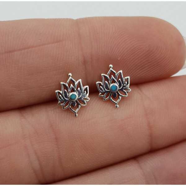 Silber lotus oorknopjes mit Türkis