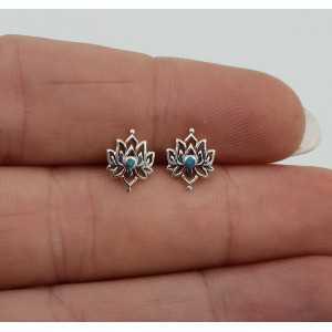 Zilveren lotus oorknopjes met Turkoois
