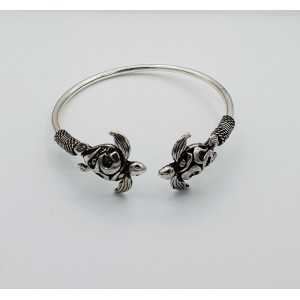 Silver bracelet / bangle with two turtles