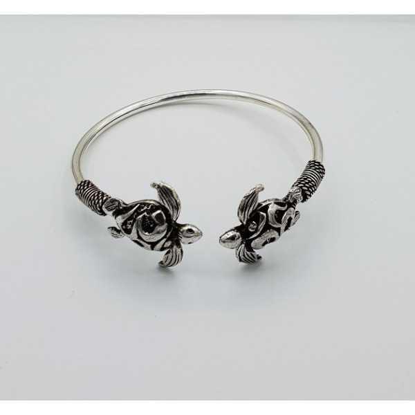 Zilveren armband / bangle met twee schildpadden
