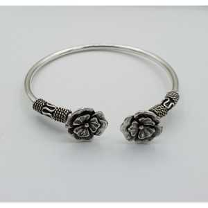 Silver bracelet / bangle with two flowers