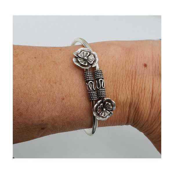 Silber Armband / Armreif mit zwei Blumen