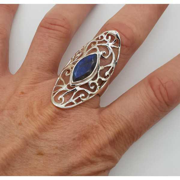 Silber ring marquise facettierten Labradorit open-gearbeitet, Einstellung, 18.5 oder 19 mm