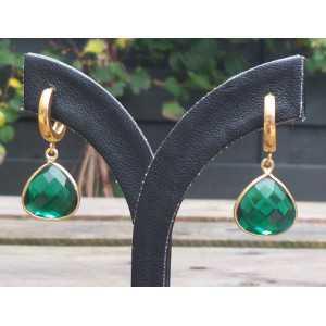 Vergoldete Ohrringe / Kreolen mit Smaragd-grüner Quarz-briolet