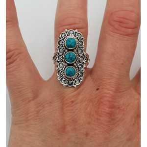 Zilveren ring gezet met Turkoois