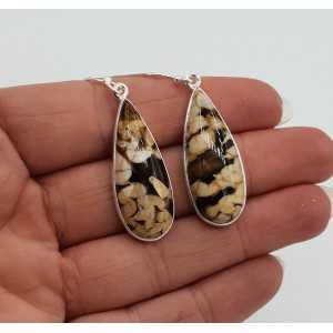Silber Ohrringe oval Peanut Holz Jasper