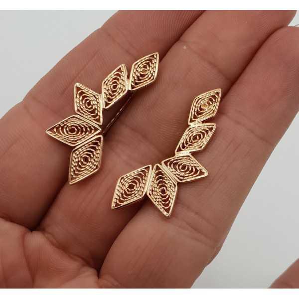 Rose gold plated filigree oorklimmers