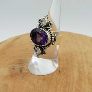 Silber ring besetzt mit Amethyst und Mondstein