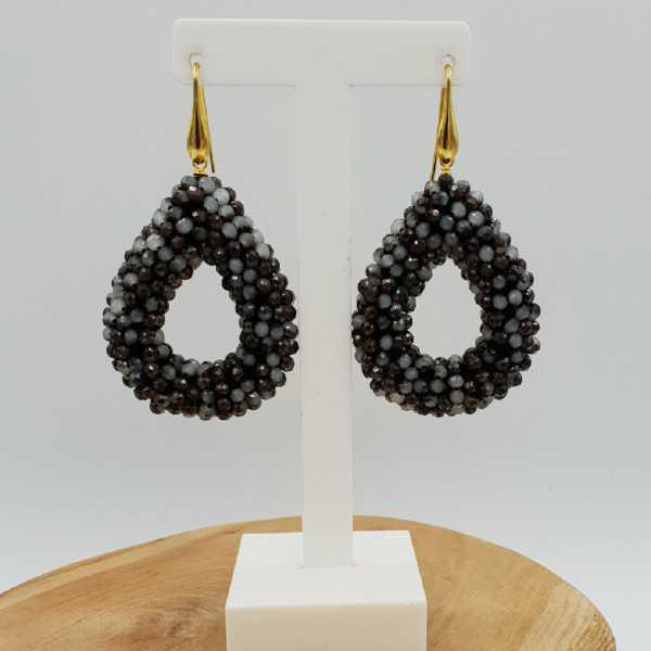 Glassberry blackberry earrings with open drop of gray, black crystals