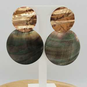Rosé goud vergulde oorbellen met grote ronde Parelmoer hanger