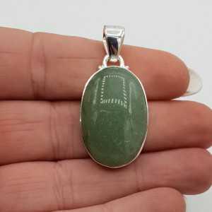 Zilveren hanger met ovale cabochon groene Aventurijn