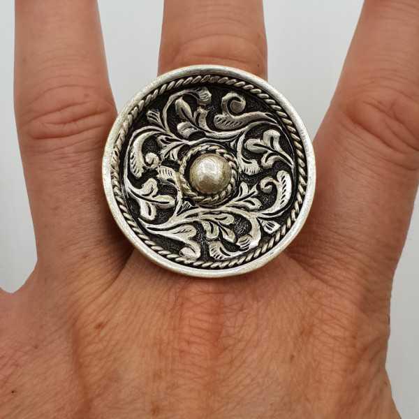 Silber ring große Runde bearbeiteten Kopf verstellbar