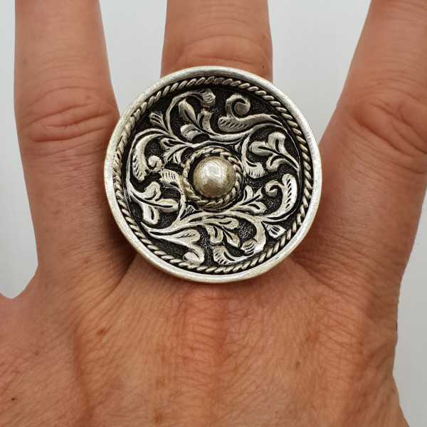Silver ring large round machined head adjustable