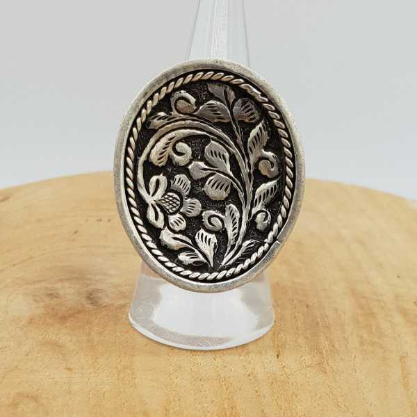 Silber ring mit ovalen, bearbeiteten Kopf verstellbar