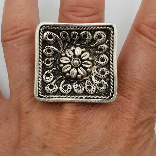 Silber ring mit großen quadratischen geschnitzt, Kopf verstellbar