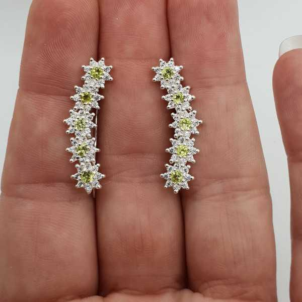 Silver oorklimmer set with Peridot and Cz