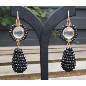 Vergoldete Ohrringe mit Strass und Tropfen Facette Onyxen