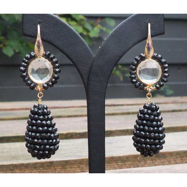 Gold plated earrings with rhinestone and drop of facet Onyxen