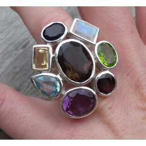 Silver ring set with facet cut multi gemstones 16.5 mm