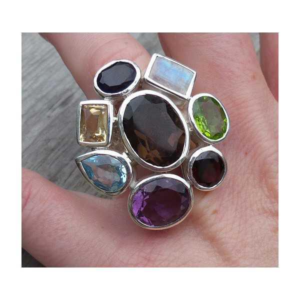 Silber ring set mit Facette cut multi Edelsteine 16,5 mm