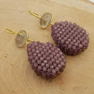 Goud vergulde oorbellen met Smokey Topaas en druppel van paarse kristallen