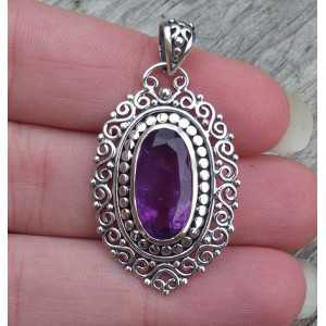 Silver pendant oval faceted Amethyst and carved setting