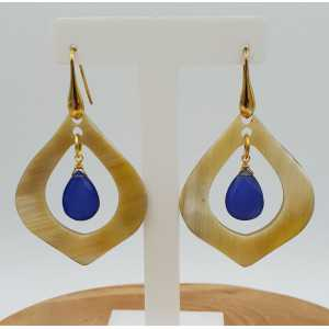 Earrings with buffalo horn and blue Chalcedony quartz