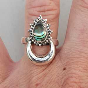 Zilveren maan ring gezet met Abalone schelp 17.3 mm
