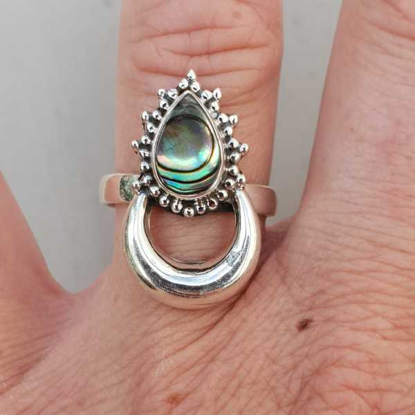 Silver moon-ring-set mit Abalone shell-17.3 mm