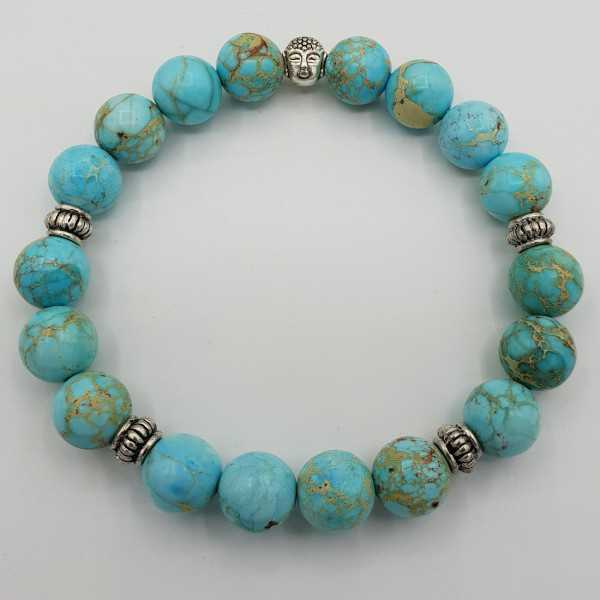 Stretch-Armband mit Türkis-blauen Sediment Jasper