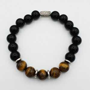 Stretch bracelet with black Onyx and tiger's eye