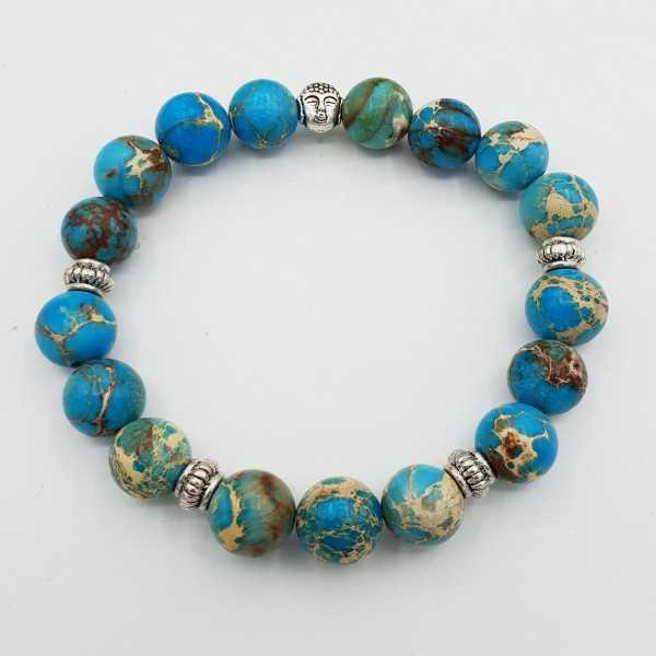 Stretch bracelet with blue Sediment Jasper
